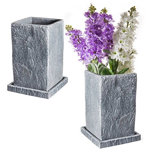 8-Inch Textured Slate-Gray Ceramic Planter Pots with Removable Drainage Tray, Set of 2