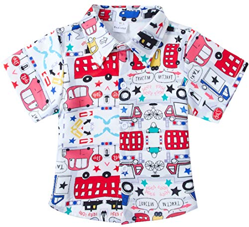 (RAISEVERN Big Boys' Cotton Dress Shirt Casual Button Down Short Sleeve Cartoon Cars Print Top Kids Cool Sports T-Shirt(7-8T))
