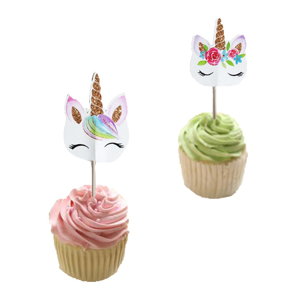Unicorn Eye Horn Cupcake Topper (48 Pack) Double Sided Kid's Birthday Baby Shower Party Decorations Supplies by LifePassion