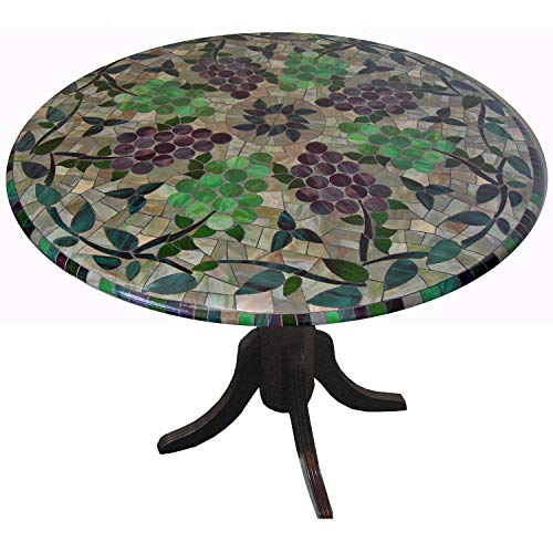 Mosaic Table Cloth Round 36 Inch To 48 Inch Elastic Edge Fitted Vinyl Table Cover Vineyard Stained Glass Pattern Brown Purple Green