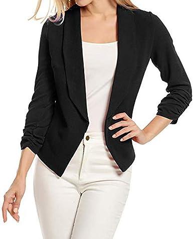 Plus Size Women/'s Collar Suit Jacket Coat Ladies 3//4 Sleeve Blazer Cardigan USA