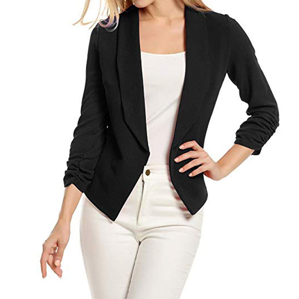 WUAI Womens Formal Business Lightweight Jackets Work Office Blazer Open Front Long Sleeve Cardigan Jacket(Black,Small)