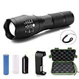 SinoPro LED Flashlight, 1000 Lumens CREE T6 Tactical Flashlight Outdoor Handheld Zoomable Flash Torch with 5 Modes , Ultra Bright, Adjustable Focus, Water Resistant Rechargeable Lamp