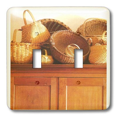 3dRose LLC lsp_41568_2 Country Wicker Baskets, Double Toggle Switch