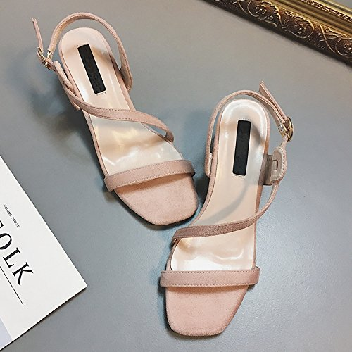 RUGAI-UE Sandalias de Verano Mujer Confort Toe zapatos de mujer Pink