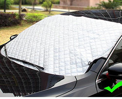 QCYM Car Cover Auto Snow Cover Windshield Screen Front Window Blind Windscreen Sunshadesun Shade Visor Protector Top Half Size