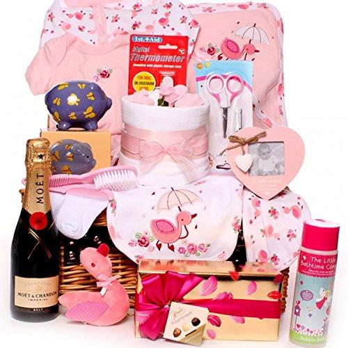 Cesta de lujo para bebé, champán, champán, regalo para recién nacido ...