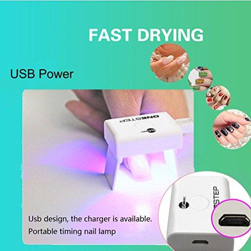 (AutumnFall Nail machine-3W Move Timing Single Finger Mini USB Portable Nail Gel Curing Polish Fast Drying LED UV Lamp Light Nail Lamp Nail Art Machine (White))