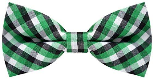 Carahere Handmade Boy's Plaid Bow Ties M138 Green , Black & White