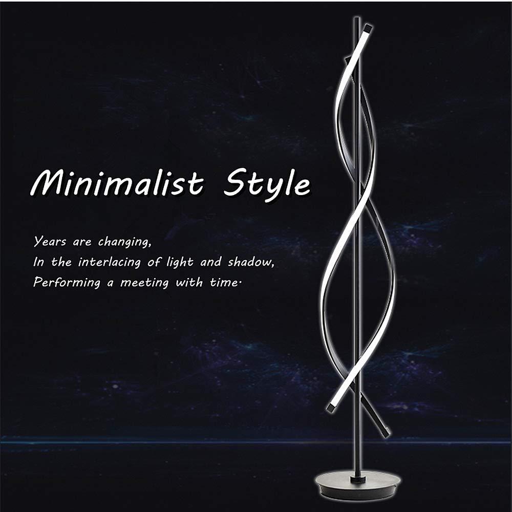 ELINKUME Spiral Modellierung Dimmbar Modernes Kreativ Design Indoor Stehleuchte Raumbeleuchtung Bequeme Energieeinsparung AC 220V Stehleuchte LED mit Fernbedienung Schwarz