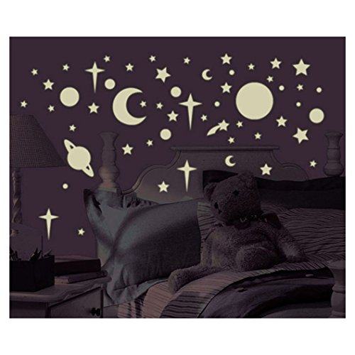 New 258 New Glow in the Dark STARS SUNS PLANETS WALL DECALS Kids Bedroom Stickers from Unknown