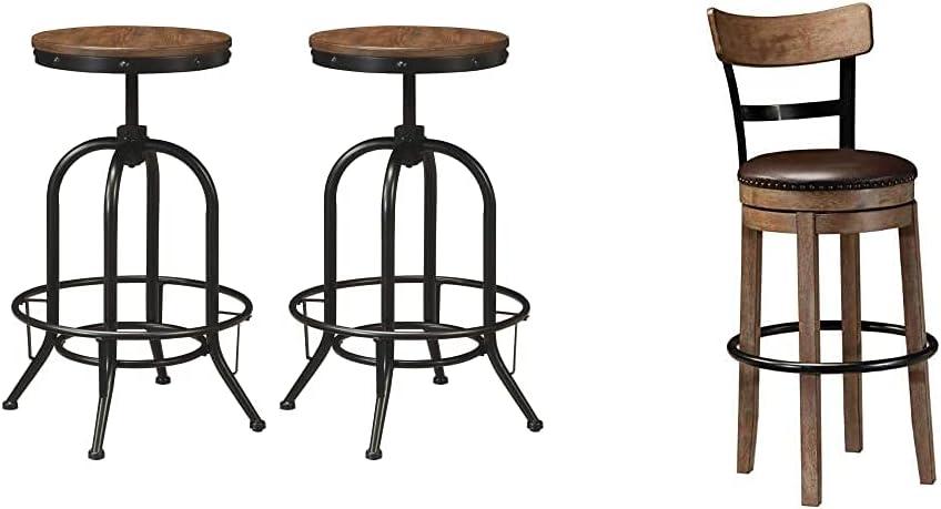 Ashley Furniture Signature Design - Pinnadel Bar Stool - Pub Height - Set of 2 - Rustic Brown & Pinnadel 30