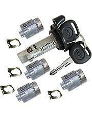 2002-2007 CHEVROLET EXPRESS OEM IGNITION SWITCH LOCK CYLINDER + 4 DOOR LOCK CYLINDER SET + 2 OEM LOGO KEYS