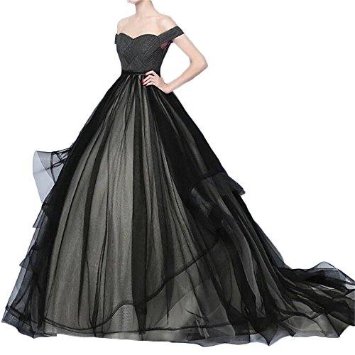Dydsz Women's Evening Party Dresses Prom Dress Off The Shoulder Maxi Tulle Gown D91 Black2 26 Plus