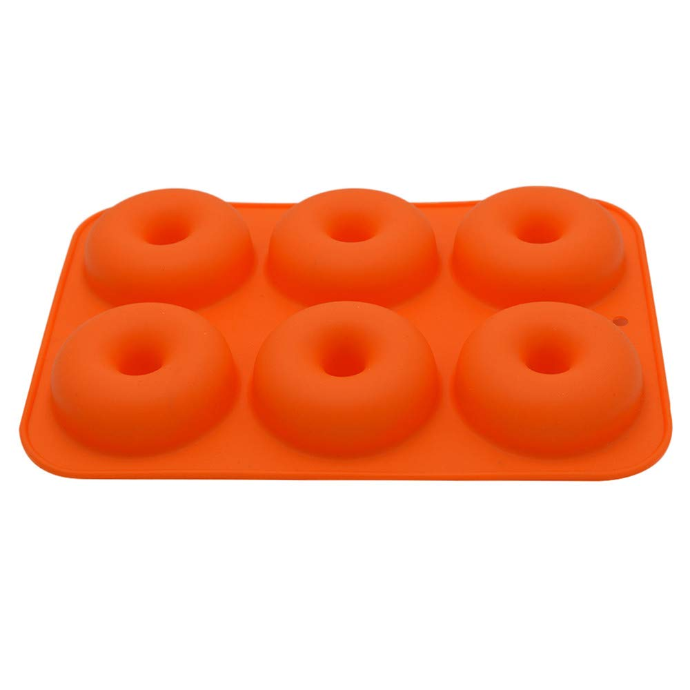 Wffo 6-Cavity Silicone Donut Baking Pan Non-Stick Mold Dishwasher Decoration Tools (Orange)
