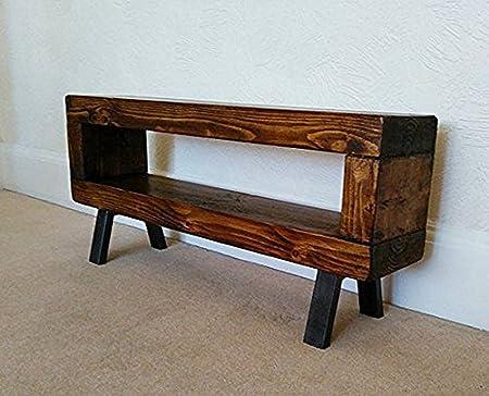 Red cottage furniture Industrial Estilo Chunky Slim rústico Mueble para televisor con Acabado en Cerezo con Patas de Acero 90 cm: Amazon.es: Hogar