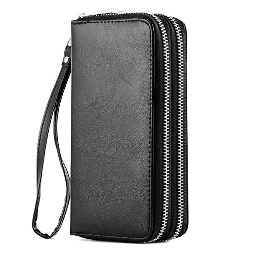 Card Holder Coin Purse Bag (XeYOU Double Zipper Around Long Clutch Wallet Card Holder Purse with Coin Pocket for Cash, Coin, Card and Smart Phone (Black with Wristlet Strap))