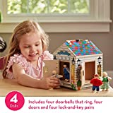 "Melissa & Doug Take-Along Wooden Doorbell Dollhouse (Doorbell Sounds, Keys, 4 Poseable Wooden Dolls, 9"" H x 6.8"" W x 6.8"" L, Great Gift for Girls and Boys - Best for 3, 4, and 5 Year Olds)"