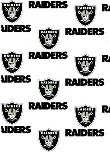 Oakland Raiders White NFL 100% Cotton Fabric by the Yard (0.9m) Designer Football Helmet and Team Logo 60