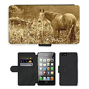 Super Stella Cell Phone Card Slot PU Leather Wallet Case // M00104860 Horse Countryside Nature Animal Farm // Apple iPhone 4 4S 4G