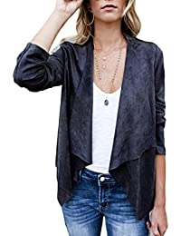 Women's Open Front Faux Suede Jacket Outerwear