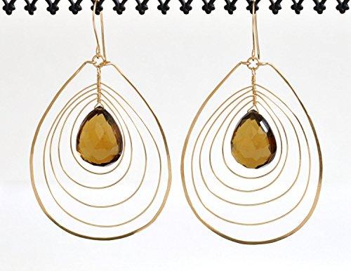 Diana Quartz Earrings - Whiskey Quartz Earrings - 14k Gold Filled Earrings