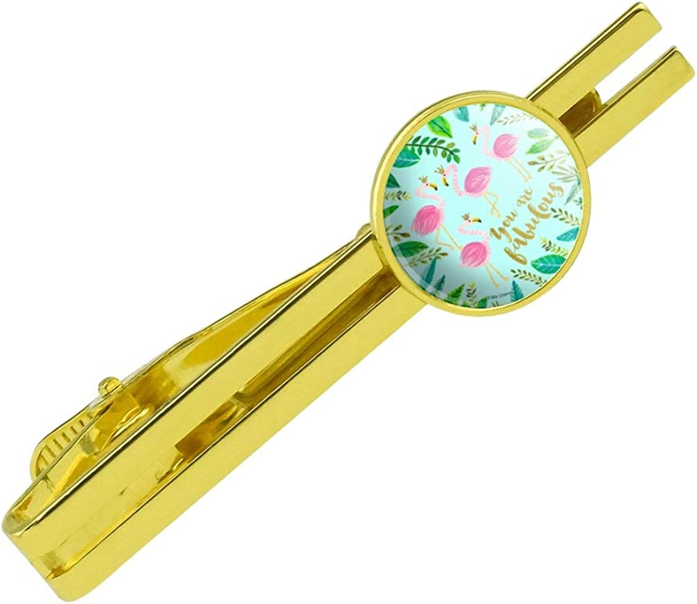 GRAPHICS /& MORE You are Fabulous Flamingos Princesses Crowns Round Tie Bar Clip Clasp Tack Gold Color Plated