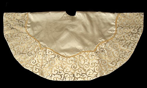 48quot Elegant Ivory And Gold Swirl Satin Christmas Tree Skirt