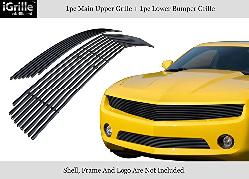 APS for 2010-2013 Chevy Camaro LT/LS V6 Stainless Steel Black Billet Grille Combo #N19-J72016C ()