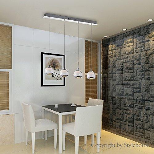 Stylehome® 24W LED Hängelampe Höhenverstellbar Kronleuchte Hängeleuchte Deckenlampe Esszimmer Wohnzimmer Chrom 4338-04A-24W Warmweiss