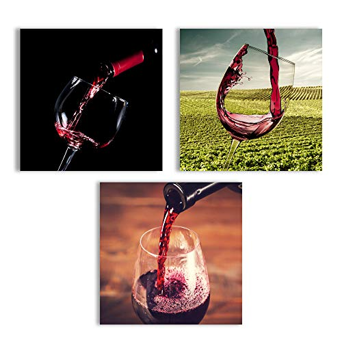 Abstract Vintage Wine Cup Pictures Home Wall s for Kitchen Streched and Framed x3 Panels