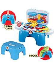deAO Medical Carrycase Doctor Playset Portable 2in1 Carrycase and Stool with Accessories Included