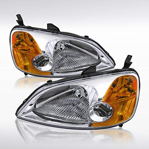 - Autozensation For Honda Civic 2DR 4DR Coupe Sedan Chrome Clear Headlights Head Lamps Pair