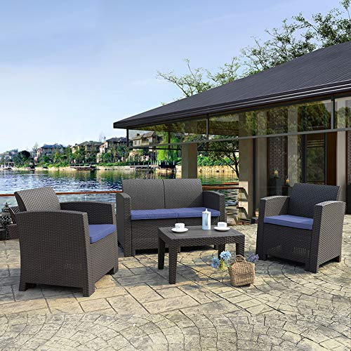 Winsday 4 Pieces Patio Furniture Sets All Weather Outdoor Sectional Sofa Resin Plastic Wicker Pattern Patio Conversation Set with Blue Cushion and Coffee Table (4 Piece Set, Blue)