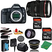 Great Value Bundle for 5D MARK III DSLR – 24-105MM L + 2PCS 16GB Memory + Wide Angle + Telephoto Lens + Case