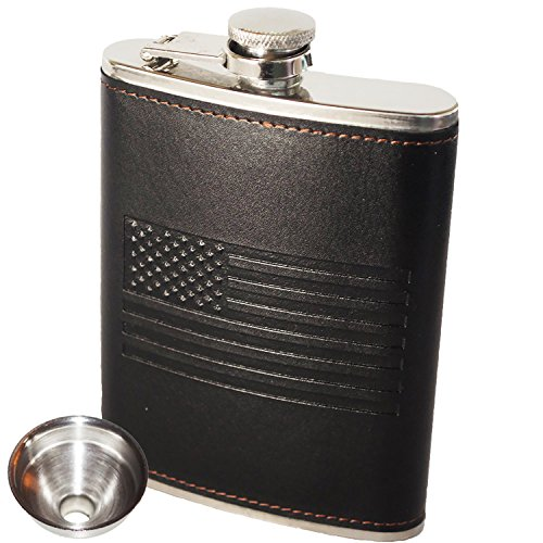 American Flag Flask - Soft Touch Cover and Durable Construction | 18/8 304 Food Grade Stainless Steel | Leak Proof Slim Profile Classic American Flag Design | Funnel Included | Black (Classic American Designs)