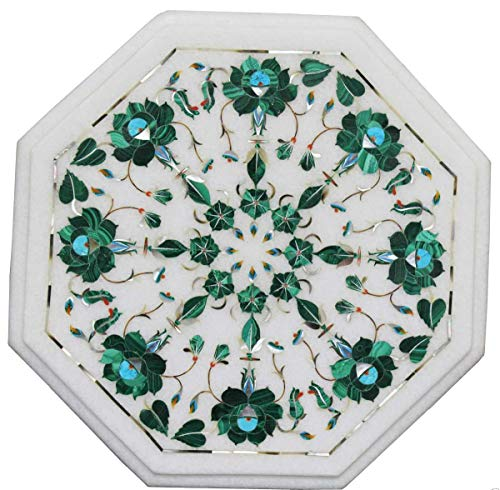 Khusboo Designs Real Marble Coffee Table Inlay Gem Stones Sofa Side Tables Furniture Decor