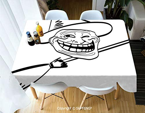Vinyl tablecloth Halloween Spirit Themed Witch Guy Meme Lol Joy Spooky Avatar Artful Image (55 X 72 inch) Great for Buffet Table, Parties, Holiday Dinner, Wedding & More.Desktop -