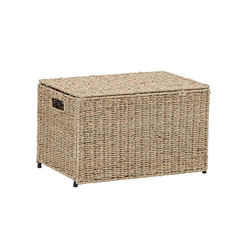 (Household Essentials ML-5660 Decorative Wicker Chest with Lid for Storage and Organization | Small |Light Brown)