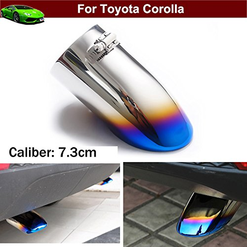 1pcs New Car Chrome Stainless Steel Exhaust Tail Pipe Tip Tailpipe Muffler Cover Trim Emblems Blue Custom Fit for Toyota Corolla 2011 2012 2013 2014 2015 2016 2017 2018 2019 2020