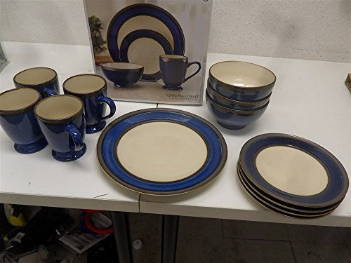 Pfaltzgraff 5143125 Catalina Cobalt  Dinnerware Set, 12 Piece, Blue/Beige