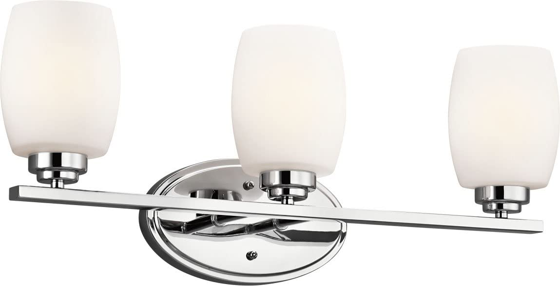 "Kichler 5098CH Bath Vanity Wall Lighting Fixtures, Chrome 3-Light (24"" W x 10"" H) 300 Watts"
