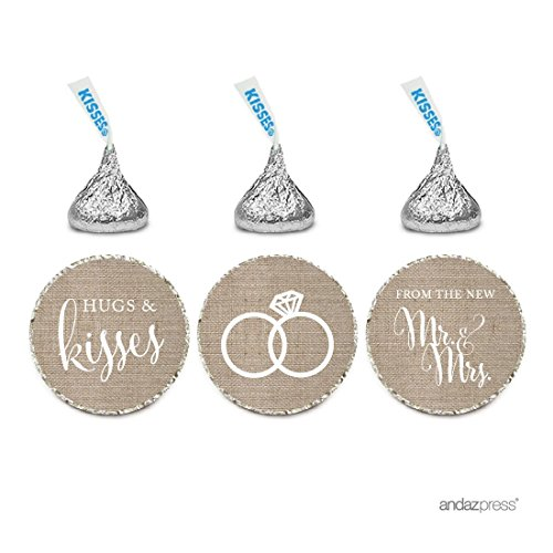 (Andaz Press Chocolate Drop Labels Stickers, Wedding Hugs & Kisses from The New Mr. & Mrs, Burlap Print, 216-Pack, for Bridal Shower Engagement Hershey's Kisses Party Favors Decor)
