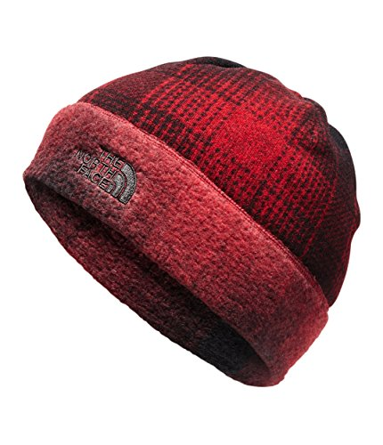 (The North Face Sweater Fleece Beanie - Rage Red Ombre Plaid Print -)