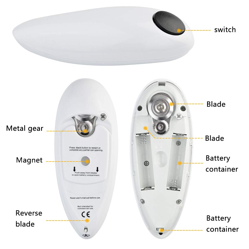 Poualss Electric Automatic Can Opener, Restaurant Can Opener, One-Touch Hands Free Can Opener for Kitchen Restaurant and Arthritic Safety