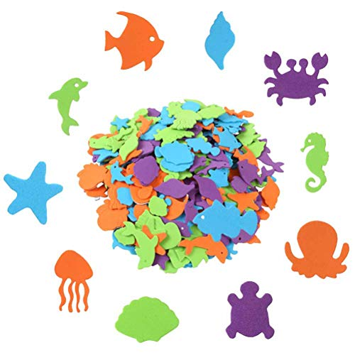 600 Pcs Alphabet Sea Animal Shapes Foam Stickers, Uspacific Self-Adhesive Marine life Stickers for Kids Toy,Party Favor or Decoration]()