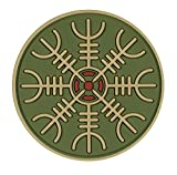 Symbol of Protection During Journeys 2x2 PVC Morale Patch Glow in The Dark The Viking Vegvisir Rune