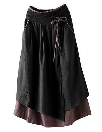 8a0c53857d IDEALSANXUN Women s Casual Cotton Linen Irregular Hem Midi Skirt with Elastic  Waist (Medium