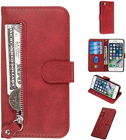 iPhone SE 2020 / iPhone 8 / iPhone 7 バックケース, Zeebox® 良質 PUレザー 防塵 耐衝撃 ケース, カード収納 iPhone SE 2020 / iPhone 8 / iPhone 7 保護 カバー, 赤