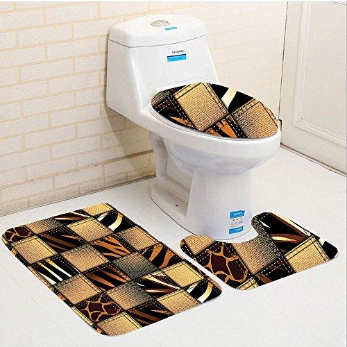 Keshia Dwete three-piece toilet seat pad customSafari Jeans Denim Patchwork in Safari Style Wilderness Stylish Fashionable Design Art Brown Black Wilderness Lodge Christmas Music